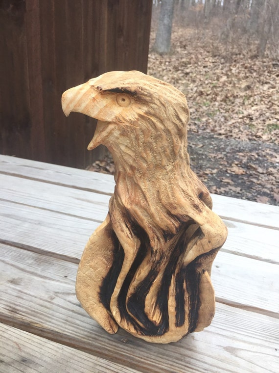 Sale eagle chainsaw wood carving art sculpture by