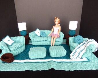 Crochet Barbie Doll Furniture, Green/Teal  16 pc. Living Room