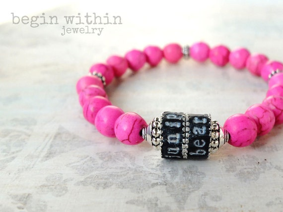 Mama Bracelet / Pink Magnesite Personalized Mother's Jewelry with Child's Names / Mother's Gift