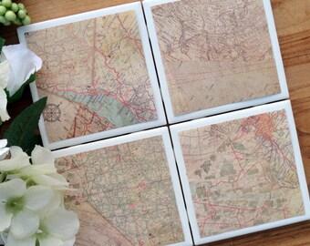 Map Coasters, Maps, Tile Coaster, Tile Coasters, Coaster, Coasters, Ceramic Coasters, Table Coasters, Drink Coaster, Coaster Set of 4