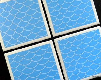 Water Wave Coasters, Coaster, Tile Coasters, Coasters, Tile Coaster, Table Coasters, Ceramic Coasters, Swimming, Coaster Set of 4