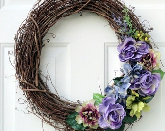 Purple Wreath - Grapevine Wreath - Spring Wreath - Summer Wreath - Floral Wreath - Wreath - Door Wreath - Wreaths - Front Door Wreath