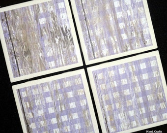 Lavender Checkered Coasters, Ceramic Coasters, Purple Coasters, Tile Coasters, Drink Coasters, Distressed Wood, Home Decor, Coaster Set of 4