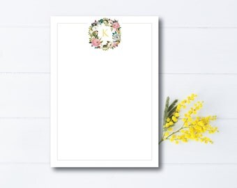 INSTANT DOWNLOAD stationery sheet / floral monogram / floral stationery sheet / printable notecard / floral stationery / personal stationery
