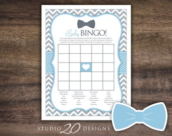 Instant Download Bow Tie Baby Shower Bingo Game, Printable Little Man Baby Bingo, Light Blue Grey Chevron Baby Shower Bingo Game for Boy 79D