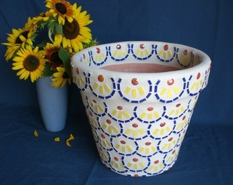 "Mosaic Flower Pot/Planter, Handmade One of a Kind, A Variation of My Original Scallop Design ""Flower Power"", 12"" Mosaic Planter/Flower Pot"