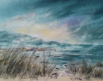 Gloomy Day At The Beach, original painting