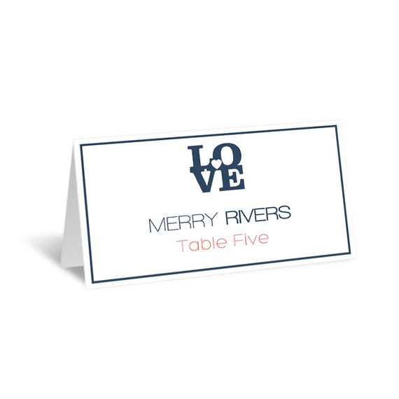 wedding place card template navy love heart foldover. Black Bedroom Furniture Sets. Home Design Ideas