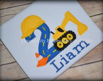 Excavator birthday party shirt - construction birthday shirt - construction party - truck birthday party - boy birthday shirt