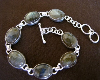 Sterling Silver Genuine Labradorite Bracelet