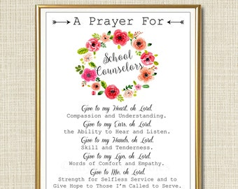 School Counselor Prayer Art, School Counselor Gift, Guidance Counselor Office Decor Wall Art, INSTANT DOWNLOAD Religious Counselor Printable
