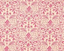 Damask Fabric, Marala Pink Kumari Garden Collection, Cotton Fabric, Pink, Cream, Nursery, Quilt, Girly