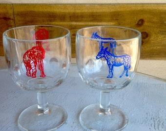 Vintage republican democratic patriotic stem glasses