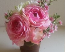 Silk Floral Arrangement Pink Roses Waxflower Green Peony in Rusty Metal Pail