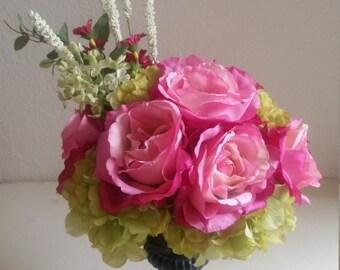 Magenta Roses and Green Hydrangea Silk Floral Arrangement