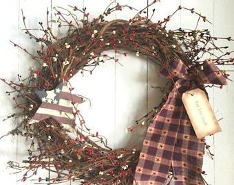 SALE!! Red, White and Blue Wreath- 4th of July Wreath- Rustic wreath- Primitive Wreath- Americana Wreath