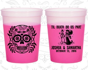 Till Death Do Us Part, Promotional Party Mood Cups, Sugar Skull, Day of the Dead, Candy Skull, Magenta Mood Cups (597)