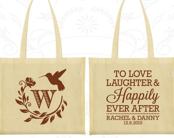 Love Laughter Happily Ever After Bags, Personalized Gift Bags, Monogram Bags, Floral Wedding Bags, Wedding Bags (445)