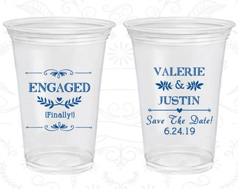 Engagement Wedding, Custom Clear Plastic Cups, Save the Date Wedding, Rehearsal Dinner, Soft Plastic Cups (482)