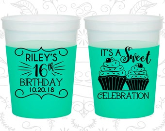 16th Birthday Mood Cups, It's a sweet celebration, Cupcake Birthday, Birthday Color Changing Cups (20041)