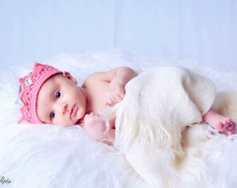 Newborn Baby Crochet Pink,White or Other Color Choice Princess Crown Photo Prop with Jewels