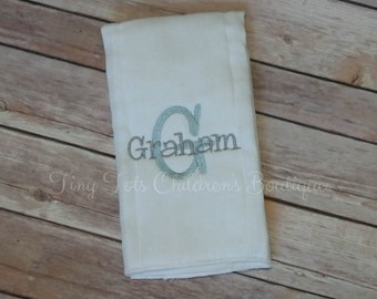 Boys Personalized Burp Cloth - Monogram Burp Cloth - Name Embroidered Burp Cloth - Newborn Baby Gift - Baby Shower