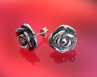 925 Solid Sterling Silver ROSE5 Earrings-Rose Stud Earrings-Oxidized-Studs