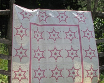 Authentic Amish Quilt, King size quilt, hand quilted blanket, Patchwork quilt, Peace star quilt, Star of David quilt, Pink Quilt, wedding