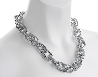 Fashion jewellery silver plated oversized chunky large textured rope choker chain necklace