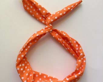 Byrd Band- Bendable Wire Headband- Orange with White Polka Dots