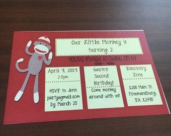 DIGITAL Sock Monkey Birthday Invite