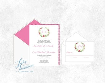 Deposit on Watercolor Monogram Wreath Wedding Invitation Suite. Printed Invites. Pink and Green. Modern, colorful invitations.