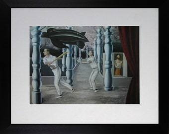 "Mounted and Framed - The Secret Player / Le Joueur Secret Print by Rene Magritte - 14"" x 11"""