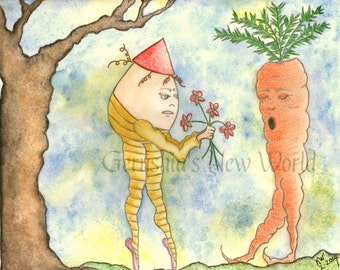 Love is Blind - Salted Watercolor, Print, Humpty Dumpty, Whimsical, Carrot
