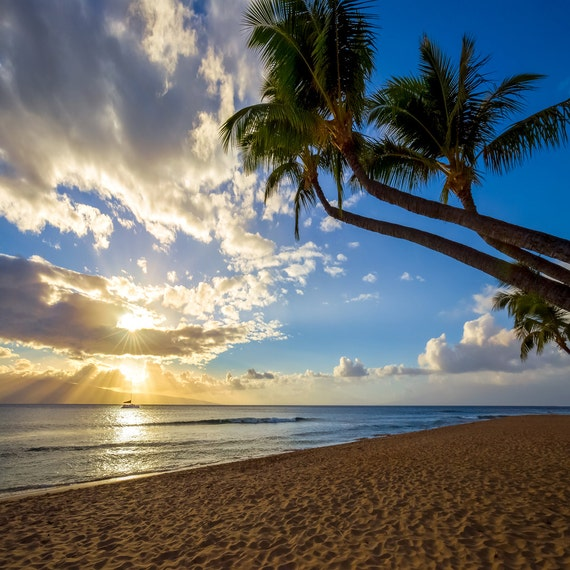 Paradise Beach: Maui Hawaii Sunset Photo Beautiful Paradise Beach Photograph
