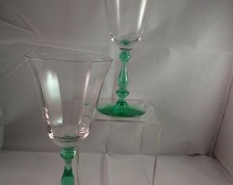 Details about  Tiffin, Green Stem-Clear Optic Bowl, PAIR