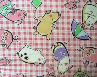 Cute plaid PIGS fabric by Macower Fabrics England