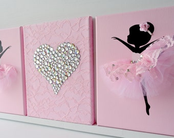 Ballerina Wall Art dancing ballerinas wall decor. nursery wall art in lavender