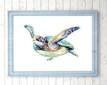 Sea turtle Art - Turtle Watercolor Painting - print turtle - animal art - ocean illustration - beach decor - sea turtle painting