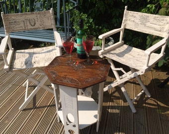 Pair of Directors Chairs with vintage side table