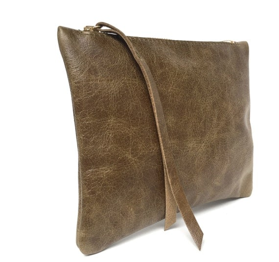 Leather pouch green, leather purse, small leather bag