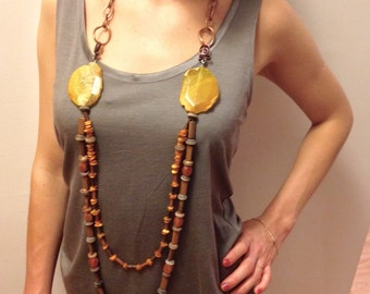 Fall Inspiration Yellow Agate Natural Stones Long Strands Necklace - Vintage Btonze Chain Necklace - Natural Stones Necklace