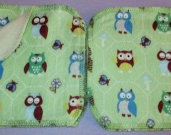 HOOT OWL - 10 x Reusable Flannel/Cotton Velour Wipes (15 x15cm) - So Soft -  Australian Made