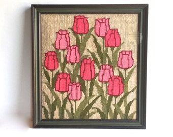 Vintage Framed Needlepoint Picture of Pink Tulips