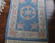 Vintage Chinese Wool Aubusson Rug With Fringe