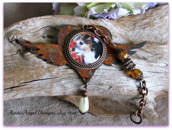 Winged Heart Pet Sympathy Photo Gift, Custom Pet Ornament, Angel Wings Ornament, Rusted Memorial Ornament, Family Photo Ornament, Angel Gift