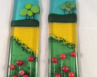 Fused Glass Sun Catcher Poppy Red Flowers  Summer Field Picture Light Catcher Hanging Gift