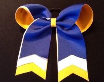 Royal Gold White Cheer Bow Layered Cheer Bow Softball Ball Bow