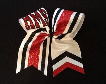 Cheer Bow, Custom School Cheer Bow, School Colors Cheer Bow, Team Cheer Bows, Personalized Cheer Bows, Red Cheer Bow, Glitter Cheer Bow
