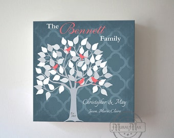 Unique Gift Personalized Family Tree Wall Decor, Wedding Anniversary Gift , Personalized Family Name Sign, Canvas Art, Christmas Gift,